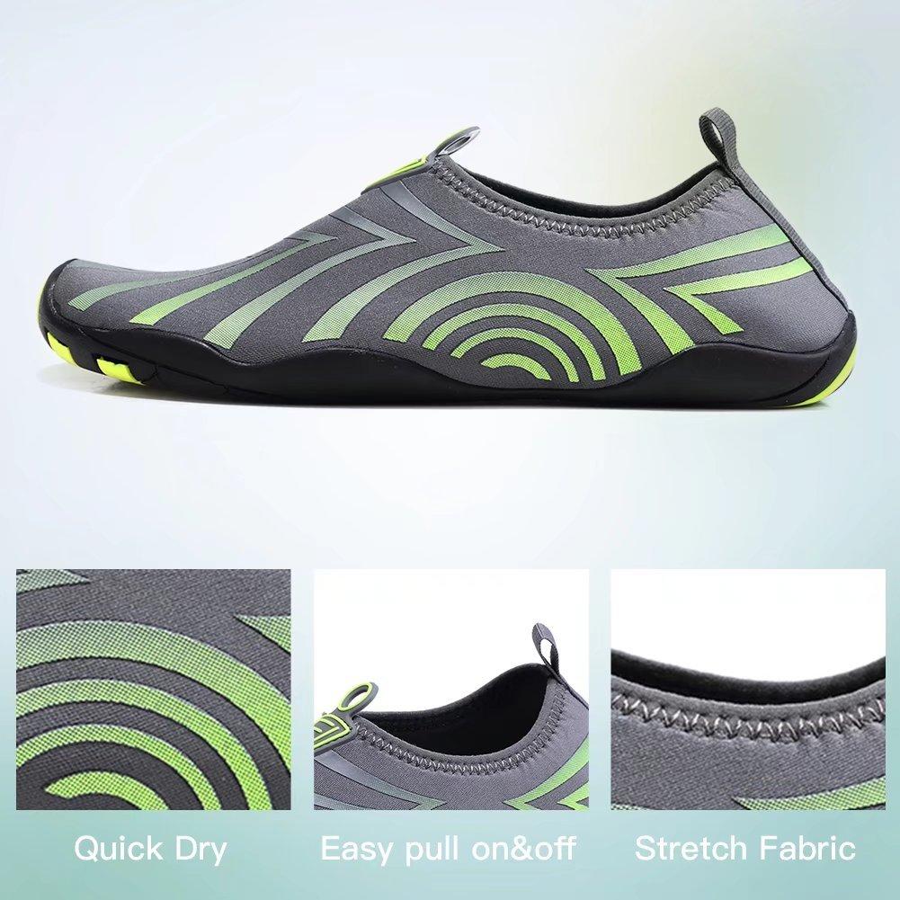 HOBIBEAR Men Quick Dry Slip-On Water Shoes Lightweight Barefoot Aqua Socks For Yoga Beach Pool Boating(Grey/Green,40)