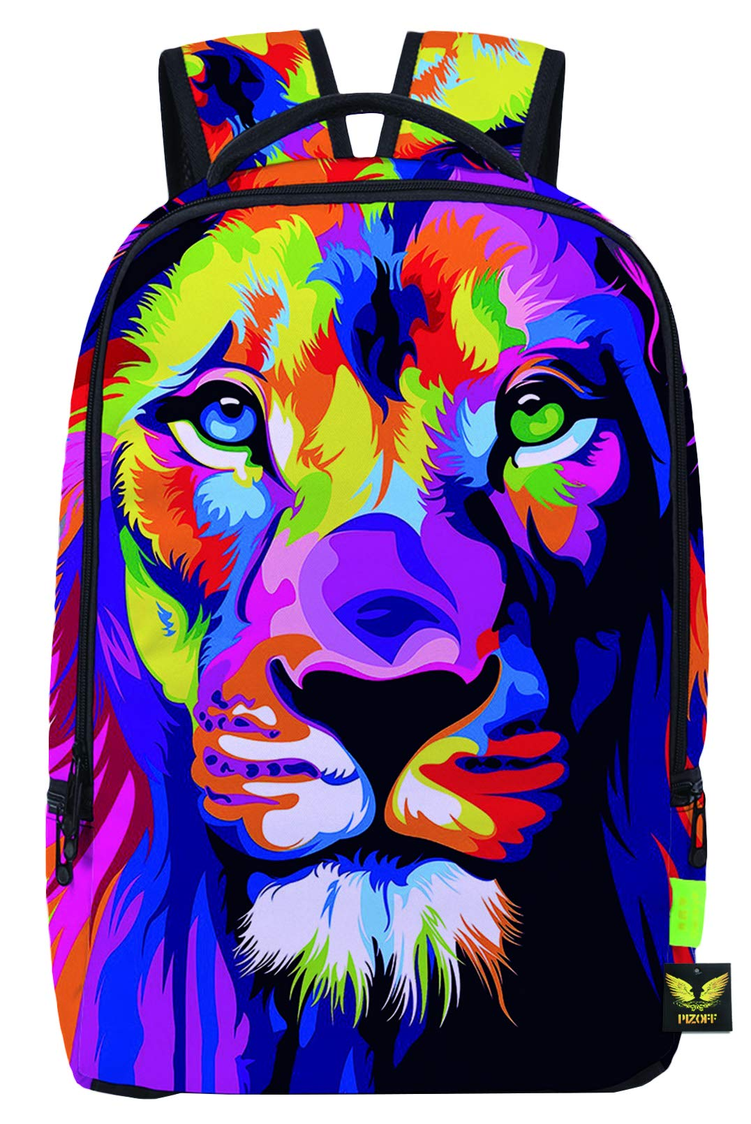 Pizoff Doulbe Mesh Padded Adjustable Shoulder Straps Colorful Lion Print School Bookbags Rucksack Travel Laptop Backpacks Boys Girls