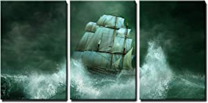 "wall26 - 3 Piece Canvas Wall Art - Ghost Ship in The Sea - Modern Home Art Stretched and Framed Ready to Hang - 16""x24""x3 Panels"