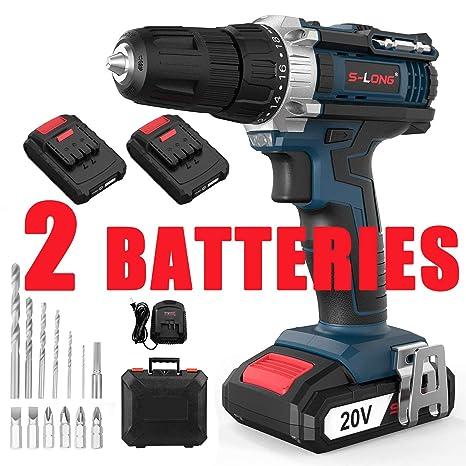 Amazon.com: Taladro inalámbrico de 20 V con 2 baterías y ...