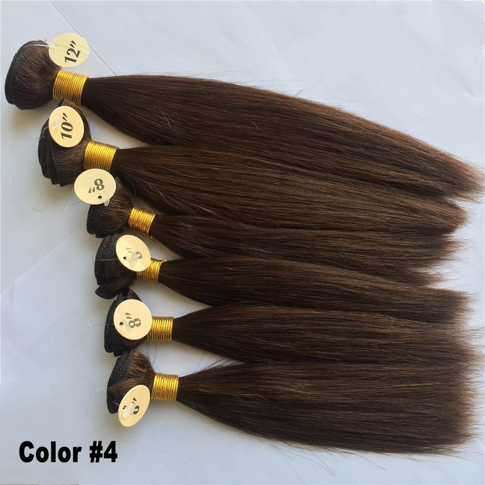 Silky straight Weaves for WIG making 20,3 cm X4PCS, 25,4 cm X1PC, 30,5 cm X1PC Human Hair Weave Bundles 6pcs totale 200 g nero/marrone capelli tessitura Remy Hair Kun Na Hair