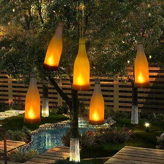 5 Piezas Luces Solares de jardín LED Luz Solar Luces de Botella con Efecto de Llama Parpadeante Luces Colgantes Decorativas para Jardín, Hogar, Arbol de Navidad, Fiesta: Amazon.es: Iluminación