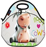 Cute Cows Thermal Neoprene Waterproof Kids Insulated Lunch Portable Carry Tote Picnic Storage Bag Lunch box Food Bag Gourmet Handbag Cooler warm Pouch Tote bag For School work Office FLB-017