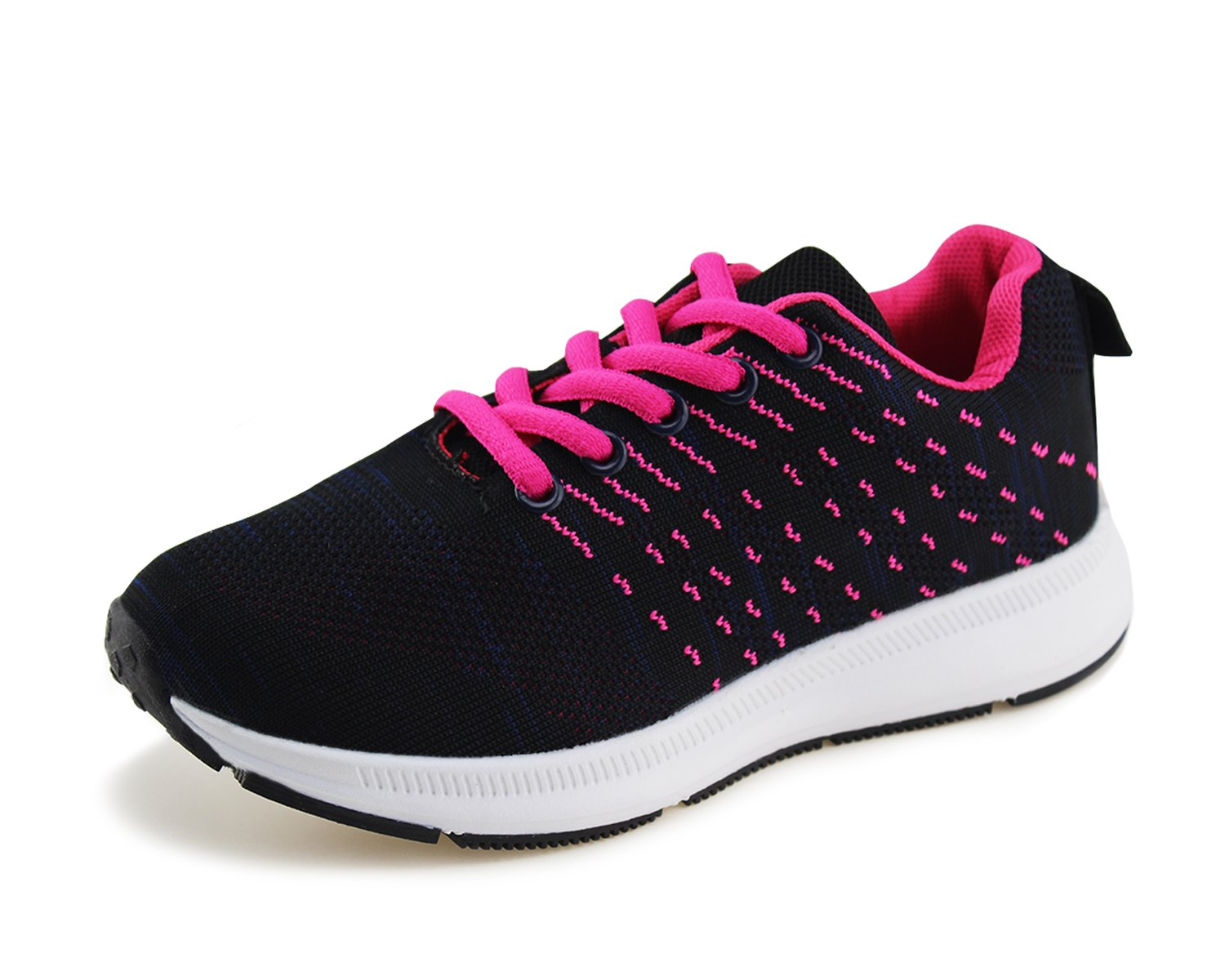 Jabasic Kids Knit Shoes Boys Girls Lightweight Lace up Trail Running Sneakers(3,N/P)