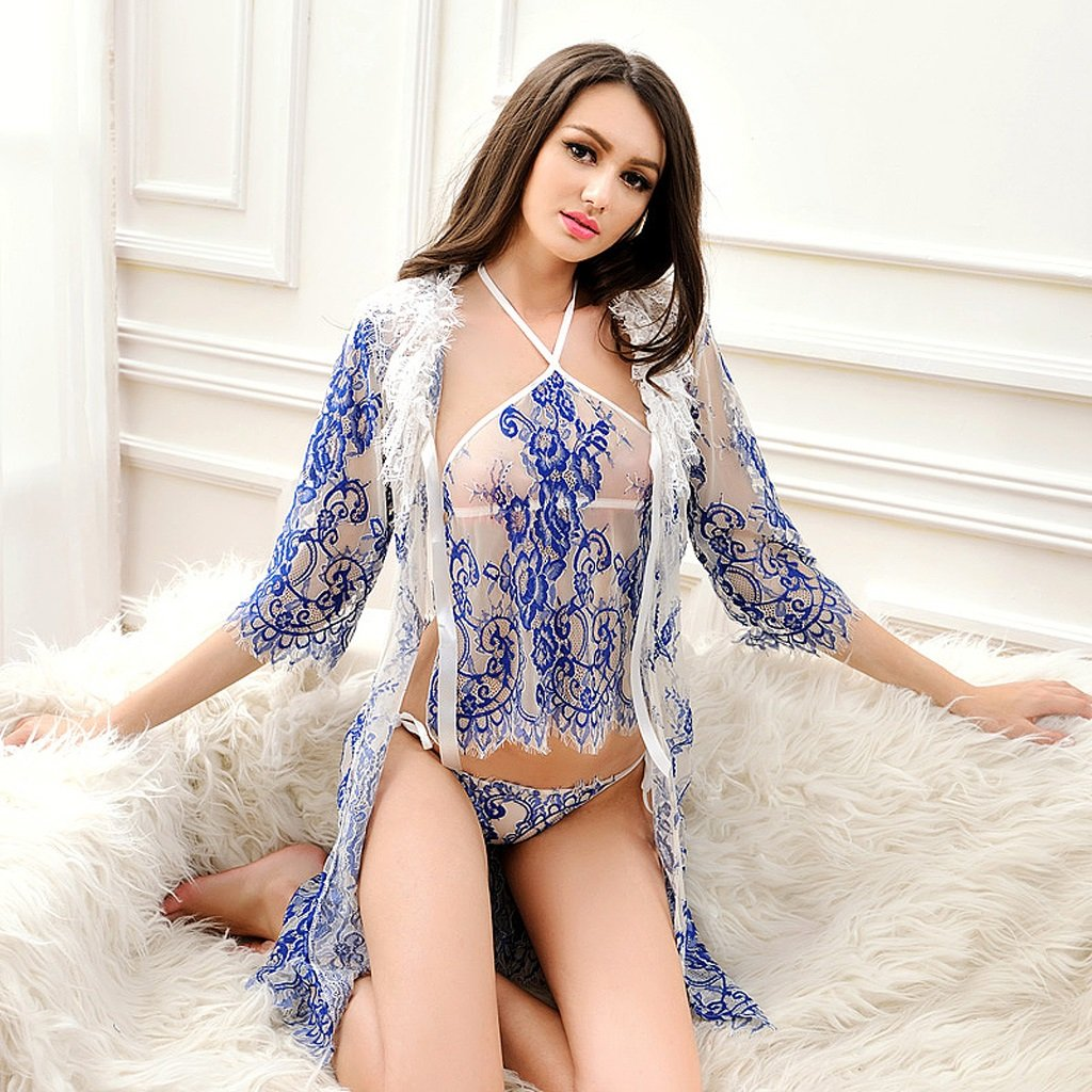 LQQGXL Sexy lingerie extreme sexy pajamas transparent lace lingerie belly strap suspenders blue fun underwear Sexy underwear