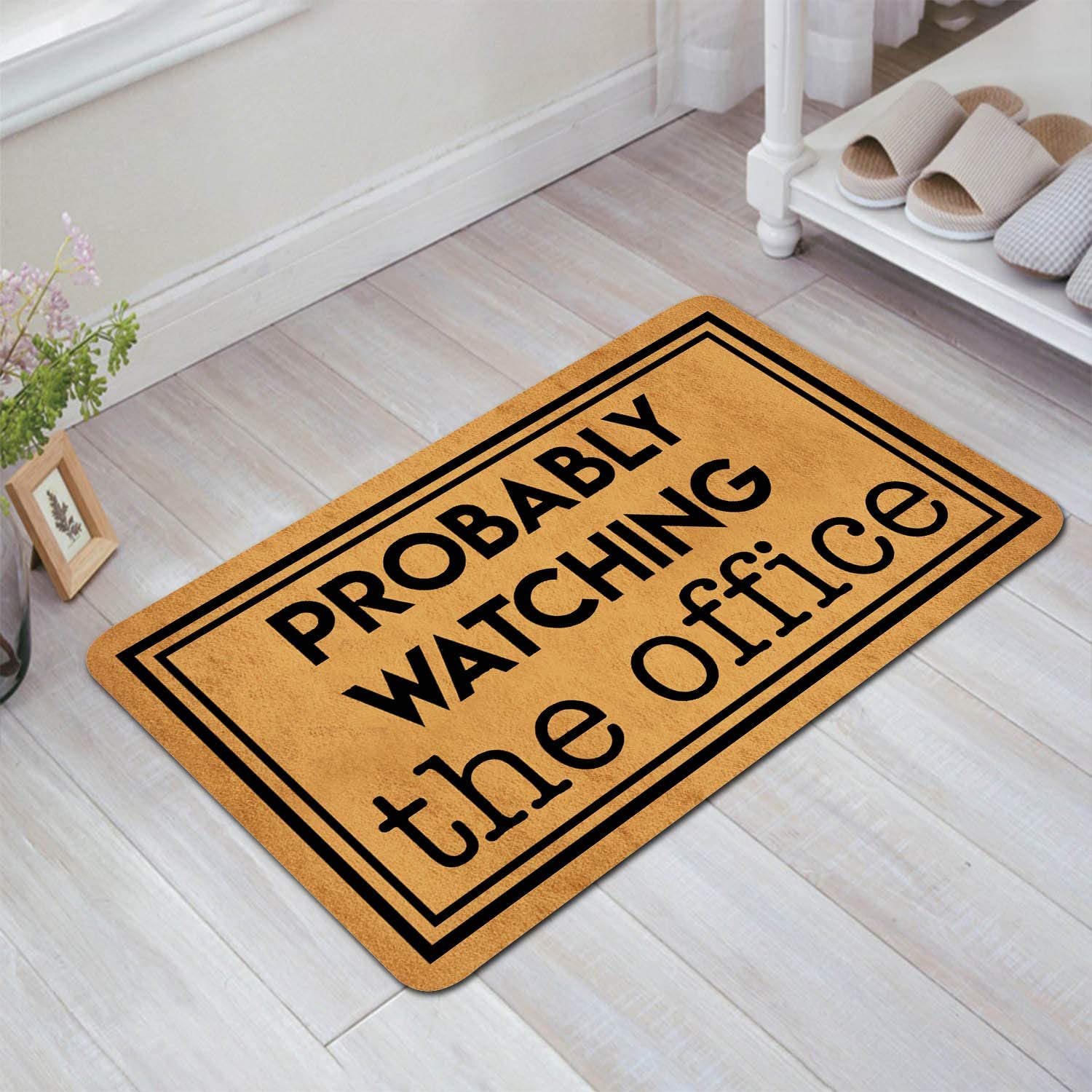 "DoubleJun Funny Doormat Probably Watching The Office Entrance Mat Floor Rug Indoor/Outdoor/Front Door Mats Home Decor Machine Washable Rubber Non Slip Backing 29.5""(W) by 17.7""(L)"