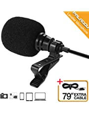Paladou Lavalier Lapel Microphone 3.5mm Mic Pro Best for iPhone Android Smartphones Recording/Youtube/Podcast/Voice Dictation/Video Conference/Studio/Interview/External Condenser Cell Phone (Black)