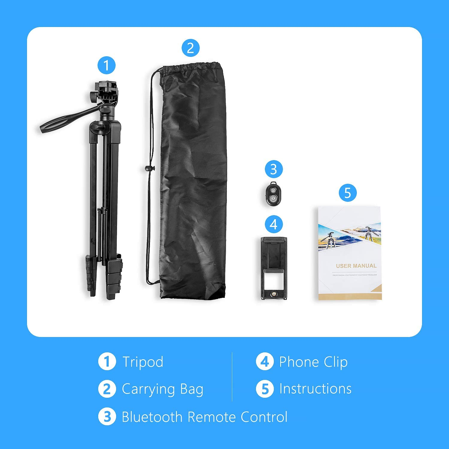 Phone Tripod with Stand Lightweight Aluminum Universal and 1/4 ...