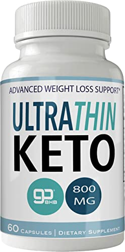 Ultra Thin Keto Pills 800mg Advanced Ketones BHB Ultrathin Ketogenic Supplement for Weight Loss Pills 60 Capsules 800 MG GO BHB Salts to Help Your Body Enter Ketosis More Quickly