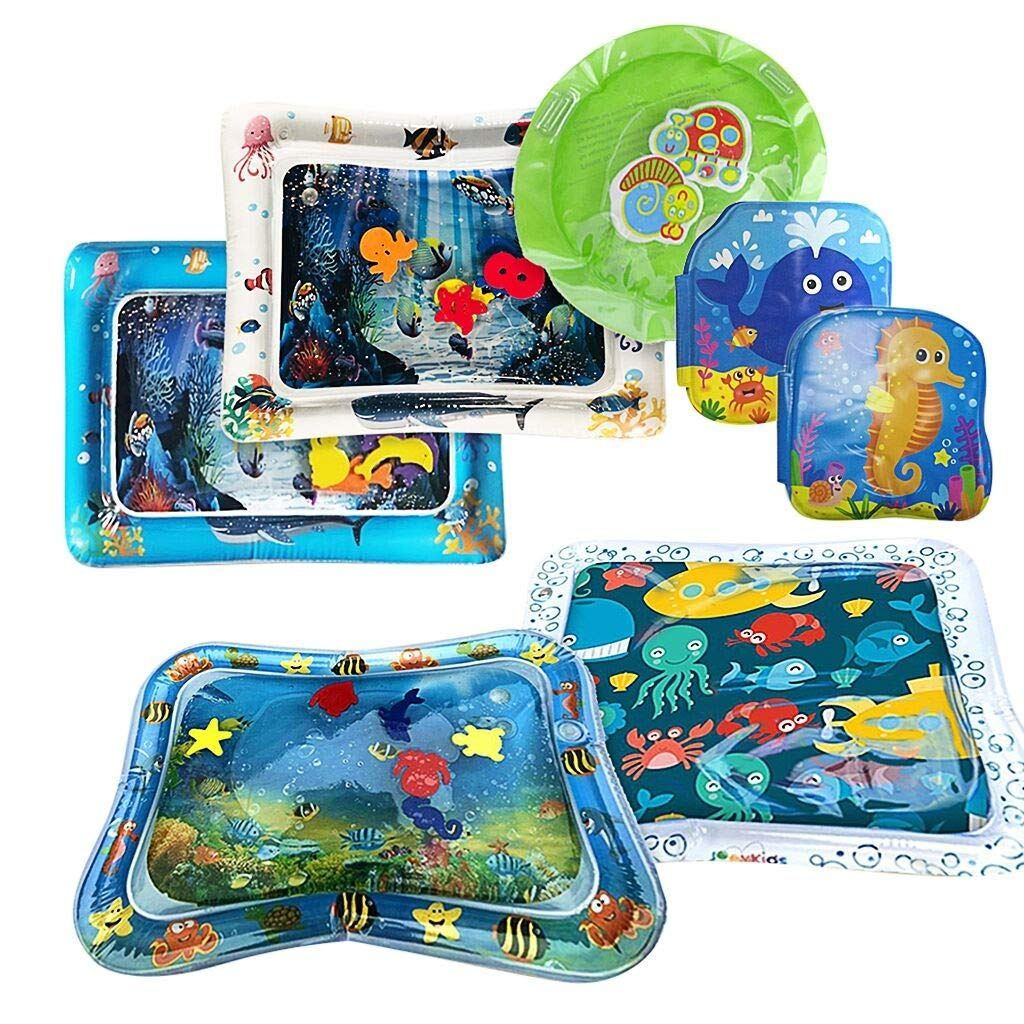 Dartphew Baby Water Mat - Inflatable Water Cushion Premium Water mat Infants & Toddlers is The Perfect Fun time Play Activity Center 4 x Inflatable Baby Pad + 1 X Inflatable Round Pad + 2 X Bath Books by Dartphew