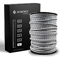 smartect Textilkabel för Lampor Grå - 2 Meter Tvinnad trasa täckt Tråd - 3 Prong (3 x 0.75mm²) Trasa Elektrisk Sladd för…