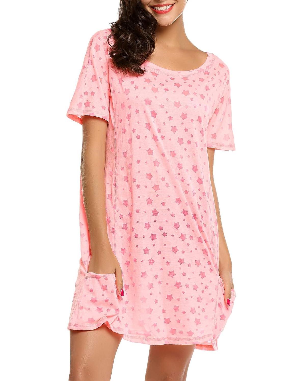 Ekouaer Damen Nachthemd Nachtkleid O-Ausschnitt Kurzarm Star Print Sleepwear Nachtwäsche Kleid Casual mit Tasche