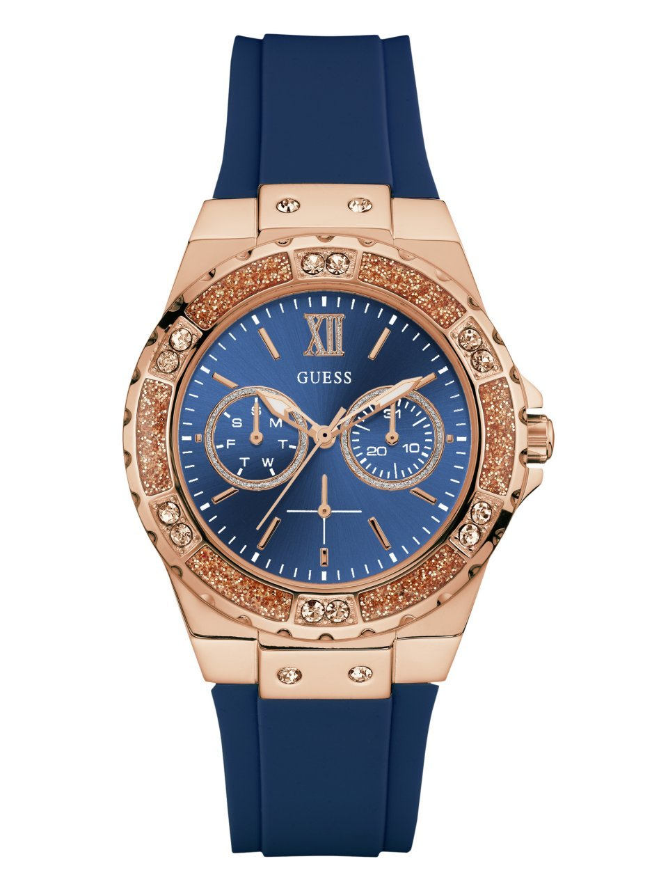 GUESS Women's Stainless Steel Silicone Crystal Accented Watch, Color: Blue/Rose Gold-Tone (Model: U1053L1)