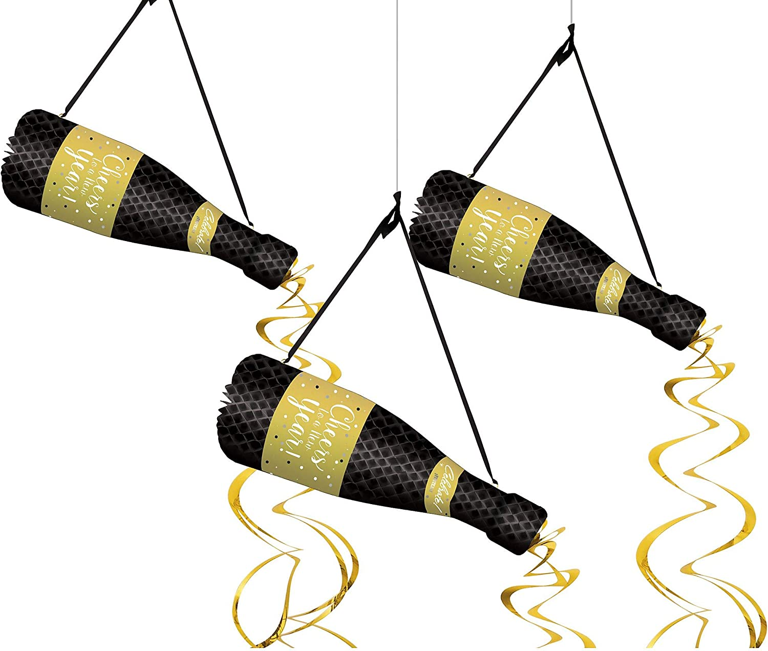amscan 670680 New Years Eve Champagne Bottle Hanging Honeycomb Décor, One Size, Multicolor (Pack of 6)