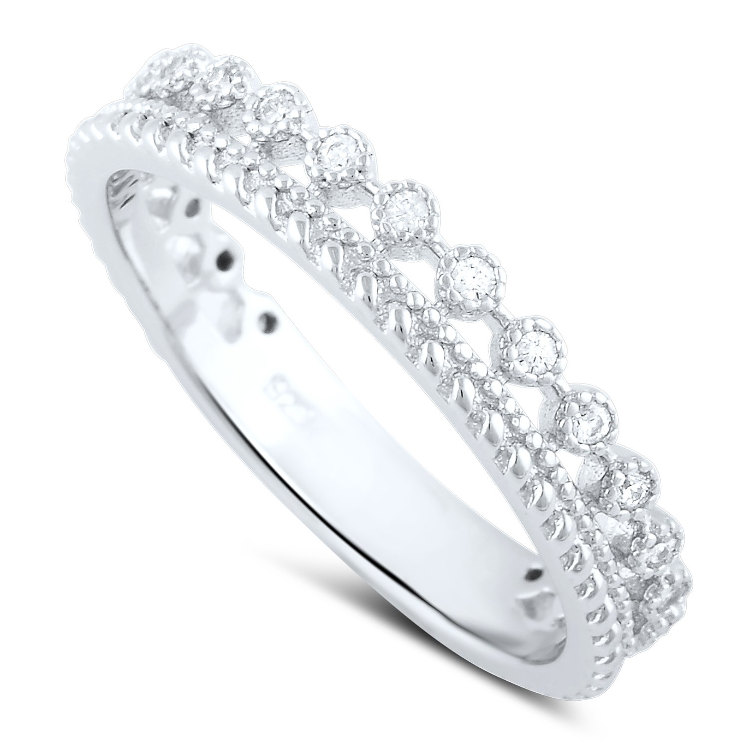 Sterling Silver Double Row Cz Eternity Ring - Size 6