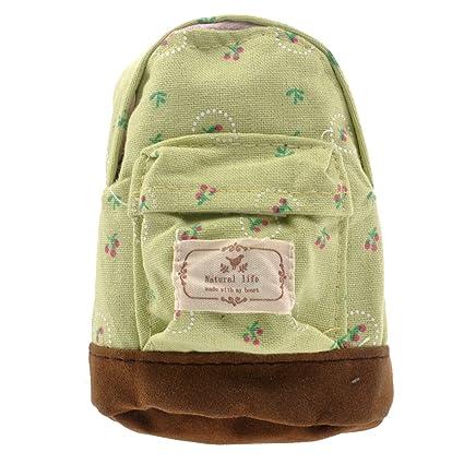 BESTOYARD Mini mochila en forma de bolso de la moneda de la flor bolso de la cartera monedero de la mano llavero llavero (rosa verde)