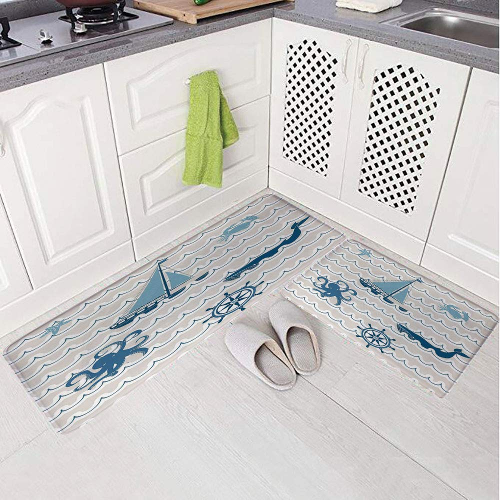 2 Piece Non-Slip Kitchen Mat Rug Set Doormat 3D Print,Elements Icons Octopus Crab Starfish Whale,Bedroom Living Room Coffee Table Household Skin Care Carpet Window Mat,