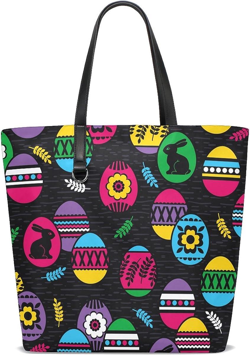 Handbags for Women Happy Easter Colorful Egg Rabbit Tote Shoulder Bag Satchel for Ladies Girls
