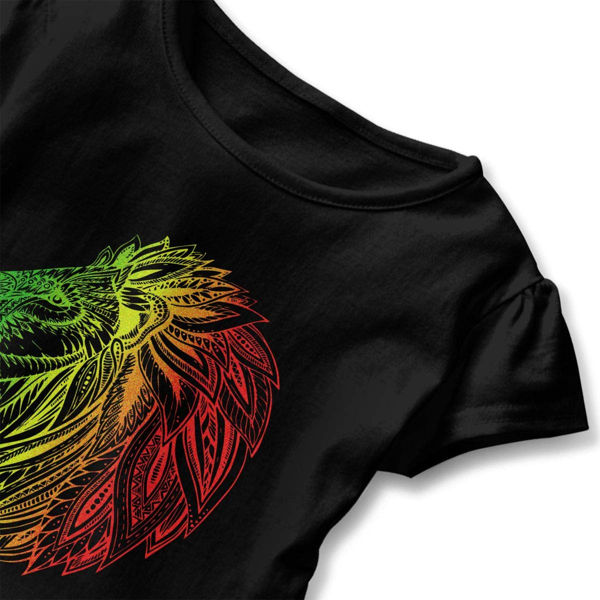 Cheng Jian Bo Rasta Reggae Lion Toddler Girls T Shirt Kids Cotton Short Sleeve Ruffle Tee