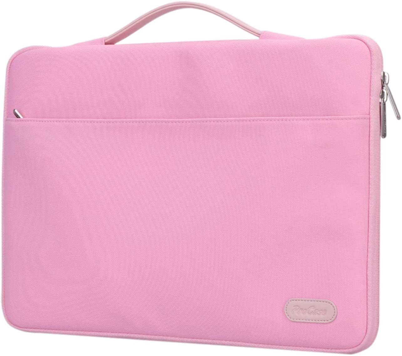 "ProCase 12-12.9 inch Sleeve Case Bag for Surface Pro X 2017/Pro 7 6 4 3, MacBook Pro 13, iPad Pro Protective Carrying Cover Handbag for 11"" 12"" Lenovo Dell Toshiba HP ASUS Acer Chromebook -Pink"