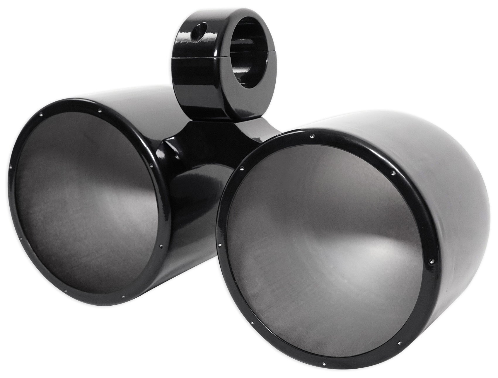 Dual Metal Wakeboard Pods For Kicker, Pyle, Fusion, MTX Speakers-Black by Rockville