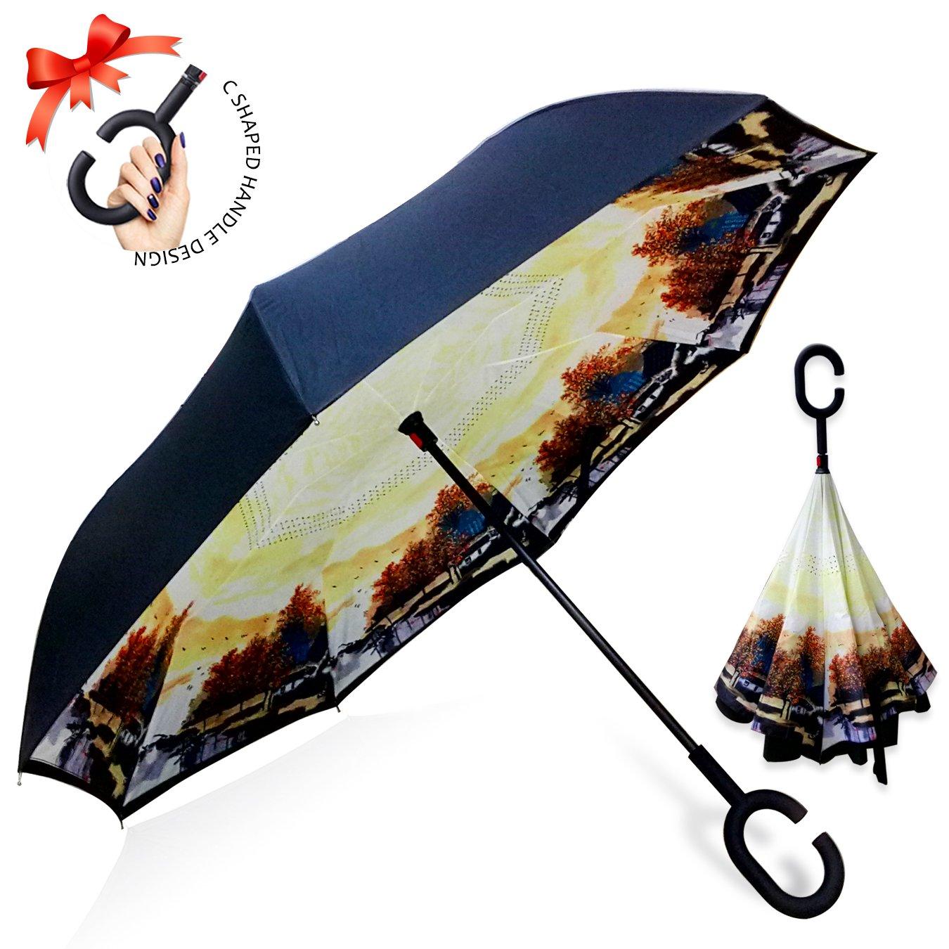 逆転傘 逆さ傘 逆折り式傘 自立傘 長傘 手離れC型手元 耐風 撥水加工 晴雨兼用 ビジネス用 車用 UVカット遮光遮熱 傘ケース付き B077N9L2TS 秋のメープル 秋のメープル