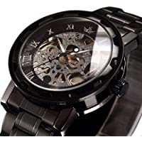 Watches, Men's Watches Classic Style Mechanical Watch Skeleton Stainless Steel Timeless Design Mechanical Steam Punk with Link Bracelet