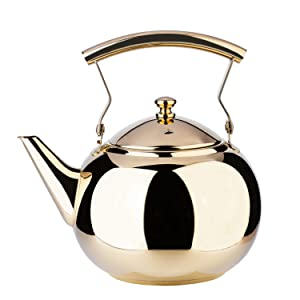 1.5 Liter Teapot Gold Pot with Infuser for Loose Tea Leaf Stainless Steel Coffee Kettle 6 Cup Stovetop Tea Pot Strainer Office Hot Water Mirror Finish 1.6 Quart 51 Ounce by Onlycooker