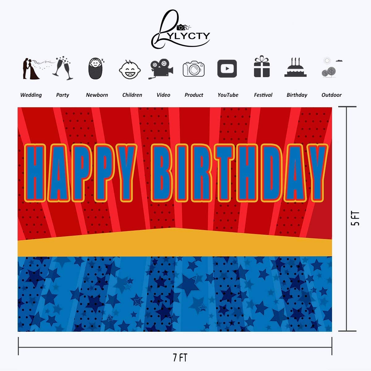 5x7ft Vinyl Happy Birthday Theme Background Red Blue Series for Children Birthday Party Photography Boy Interior Decoration Background Baby Shower Background LYHX088 for Party Decoration Birthday YouT