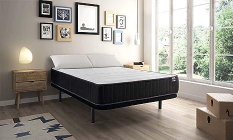 MAXCOLCHON Pack Colchon Confort-Visco + Almohada + Base tapizada 120x190