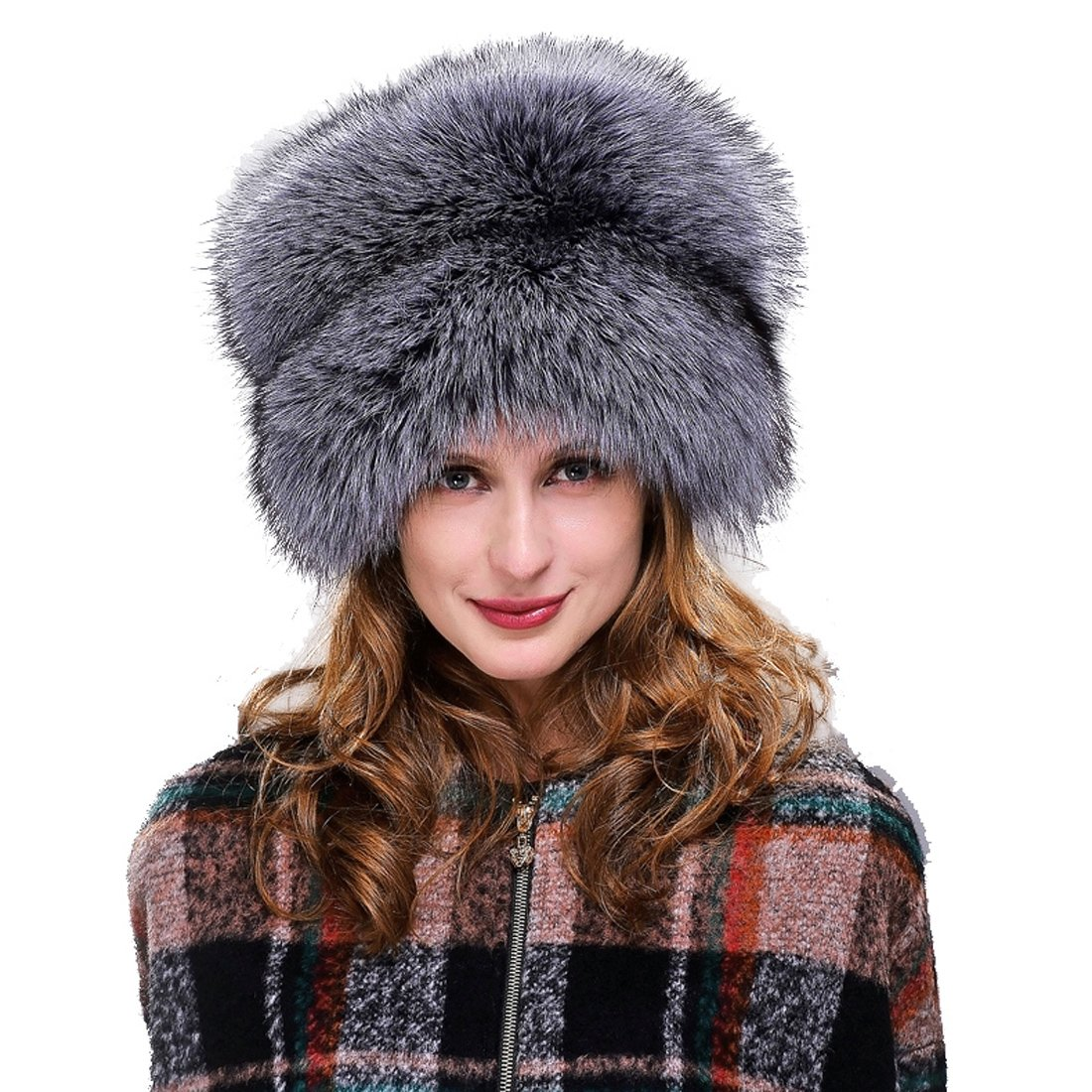 URSFUR Womne's Silver Fox All Fur Zhivago Pill Box Fur Hat Natural Color
