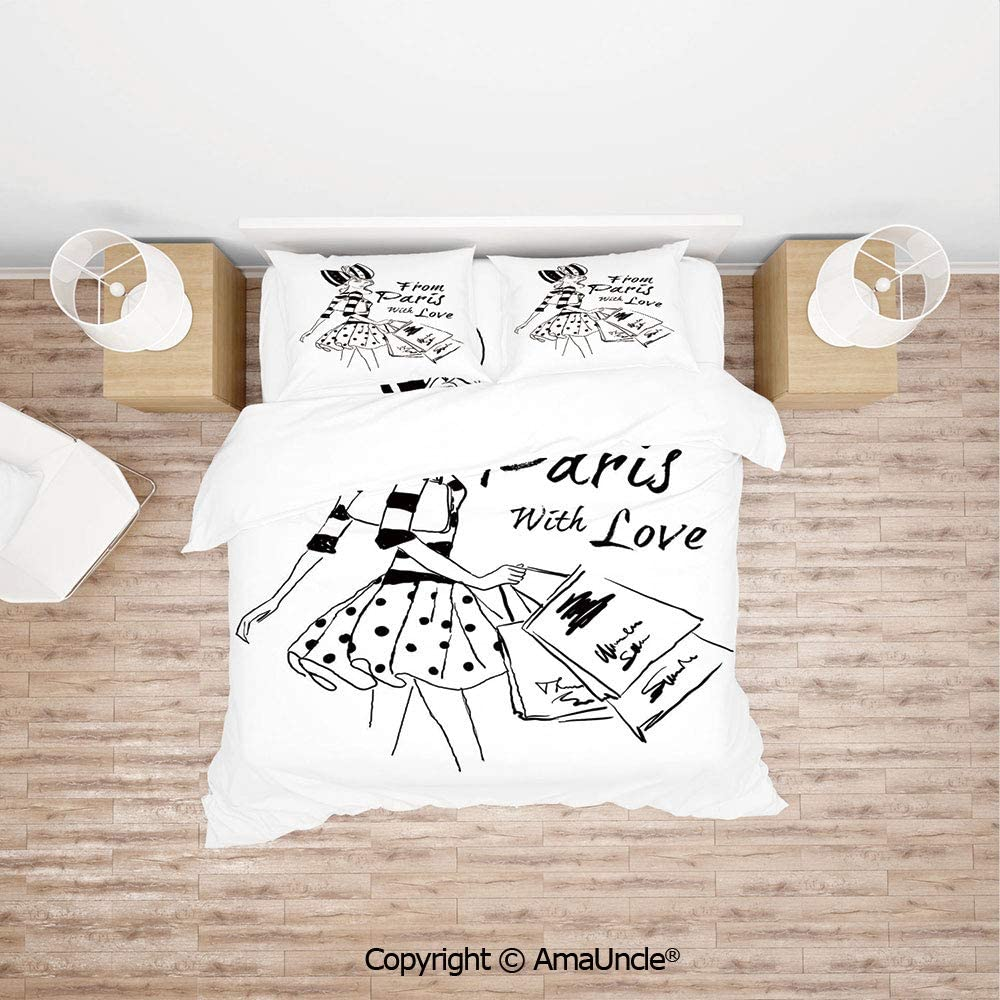 SCOCICI from Paris with Love Fashion Hand Drawn Girl Figure Shopping Polka Dot Design Sk Simple Cover Set Bedsheet Pillowcases Bedding Set 4pc Full Size