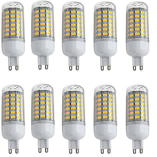 Aoxdi 10X LED G9 10W Luz de Maiz Lampara, Blanco Cálido, Dimensiones (OXL