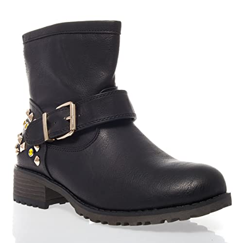 e223d5785c6f V-Luxury Womens 18-JAYDA13 Round Toe Low Heel Ankle Bootie Motorcycle Boot
