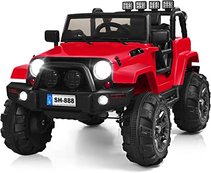 Amazon Com Costzon Ride On Truck 12v Battery Powered Electric Ride On Car W 2 4 Ghz Parental Remote Control Led Lights Double Open Doors Safety Belt Music Mp3 Player Spring Suspension Red Toys
