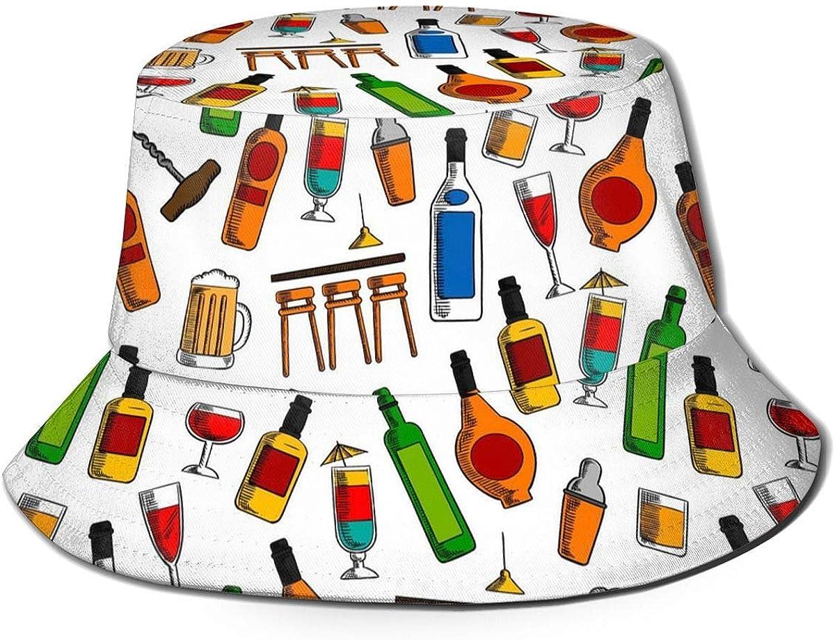Henry Anthony Unisex Bar Cocktails and Alcohol Print Travel Bucket Hat Summer Fisherman Cap Sun Hat Black