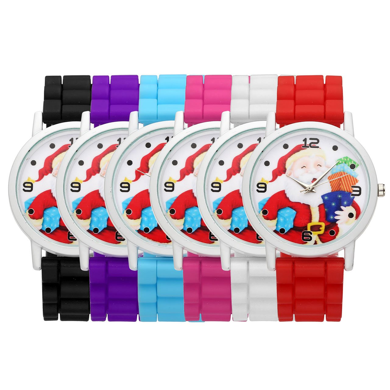 Top Plaza Cute Casual Father Christmas Analog Quartz Watch Santa Claus Pattern Silicone Band Arabic Numerals Wrist Watch for Kids Children #2(Pack of 6)