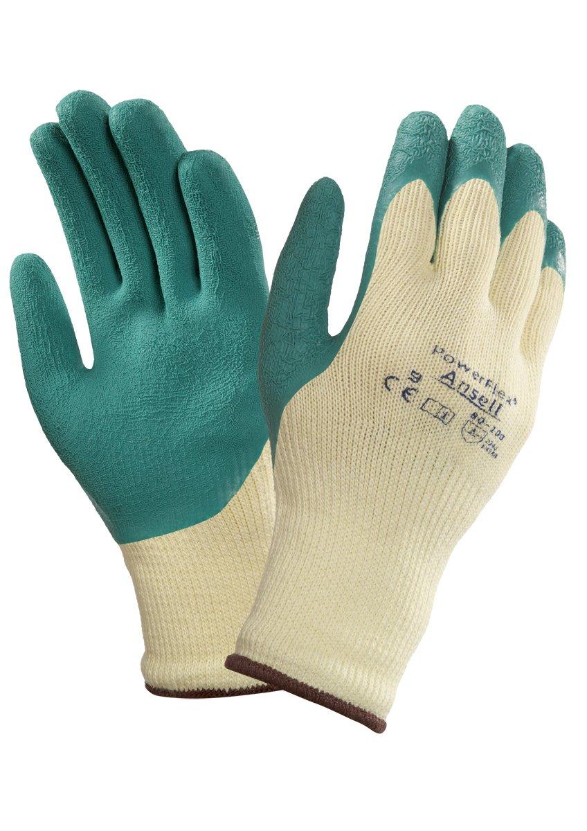 Verde Protecci/ón mec/ánica bolsa de 12 pares Tama/ño 7 Ansell 80-100//7 PowerFlex Multiusos guante