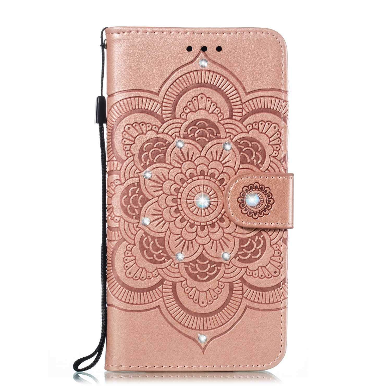 Bear Village® Coque pour Huawei Honor 7C, Premium Étui Portefeuille en Cuir, Flip Stand Housse avec Fente Carte et Fermeture Magnétique, Or Rose