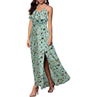 REPHYLLIS Women Sexy Split Halter Sundresses Chiffon Wedding Party Maxi Dress