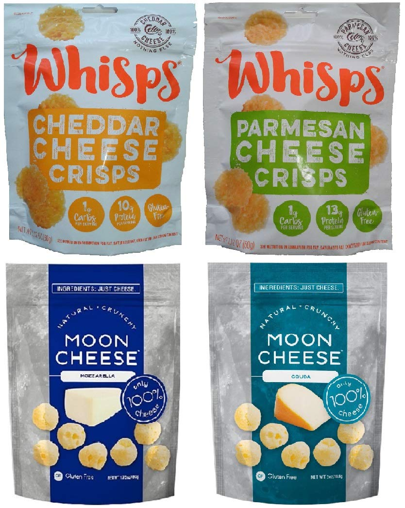 4 Pack Cheese Snack Bundle: Cello Whisps Parmesan & Cheddar + Moon Cheese Gouda & Mozzarella; Low Carb, Gluten Free, Keto Friendly, 100% Natural Cheese