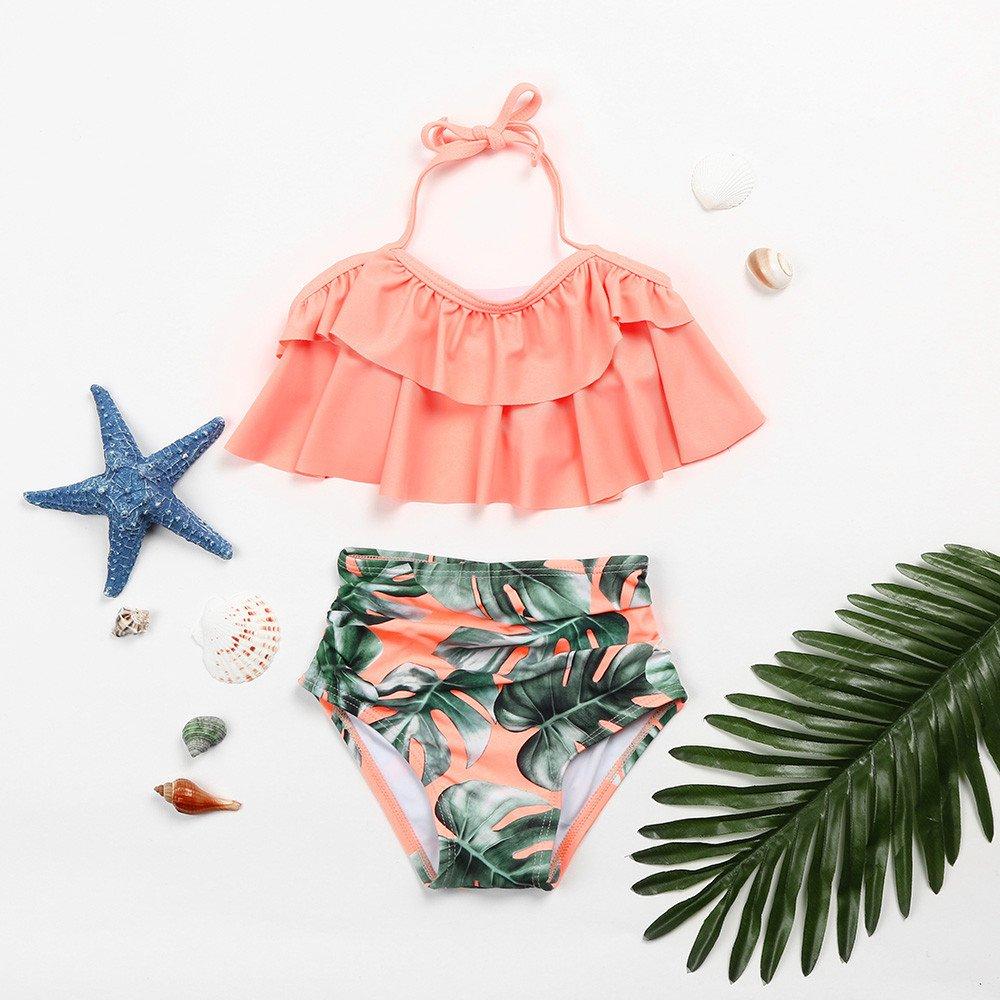 VICGREY Costumi da Bagno Bambina Ragazze Costume Mare Bimba Fiore Costume Intero Bagnarsi Beachwear Neonata Romper Senza Schienale Swimsuit Bikini Set