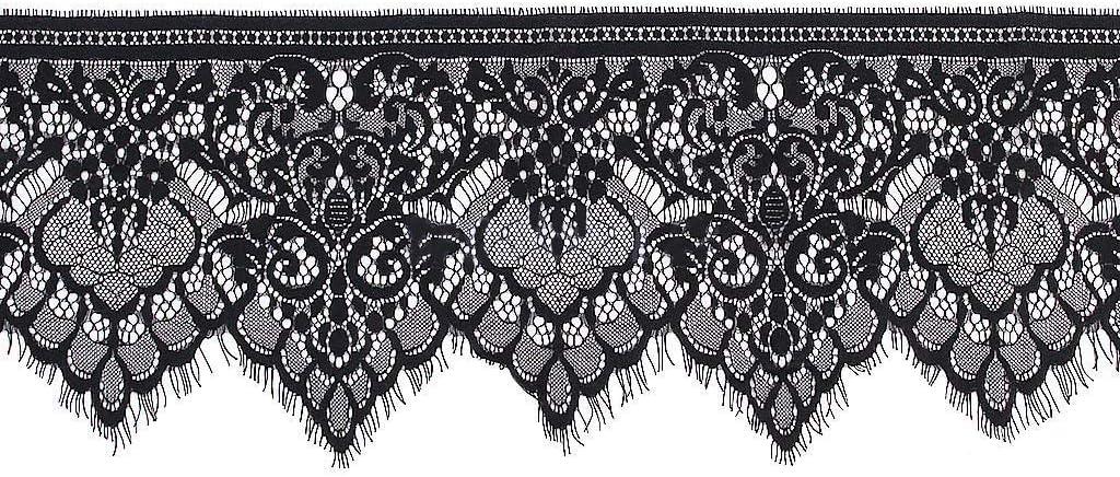 Scalloped 1 Edge 8 yard lot Cotton Crochet Lace Trim Black Edge Trim Black Cotton lace trim 12 Lace Trim Black Cotton Lace Trim