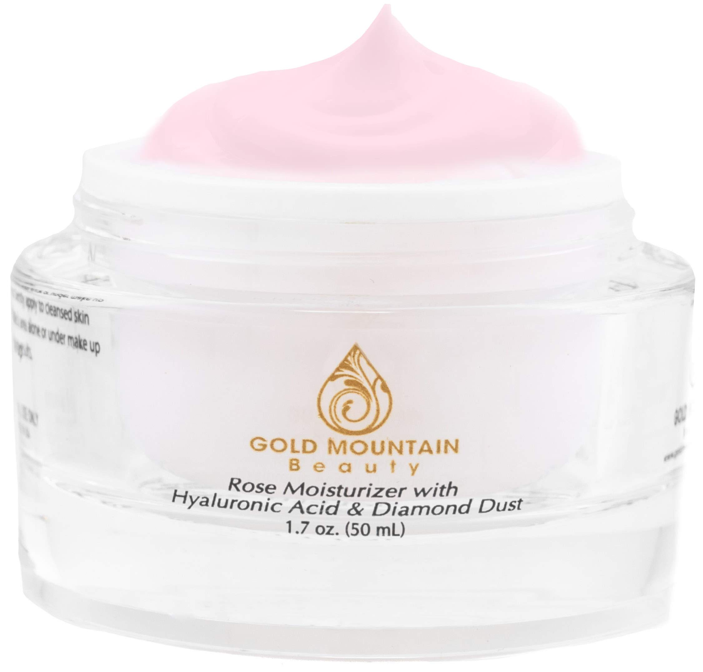 Anti Aging Face Cream Moisturizer - with Rose Scent, Hyaluronic Acid and Diamond Dust, Anti-Aging Anti-Wrinkle Night Cream for Woman and Men, Skin Care by Gold Mountain Beauty