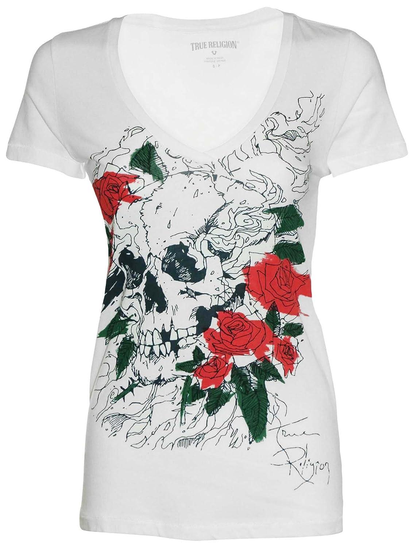 True Religion Women's Skull And Roses Slim V-Neck T-Shirt-White/Red/Grn/Blk