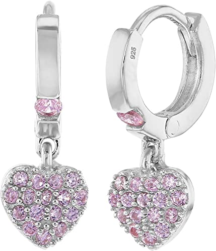 Silver Plated Hoops /& Small Hearts Handcrafted Earrings