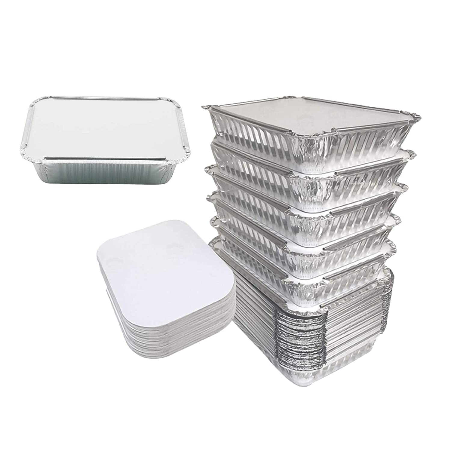 Sadocom 20 pcs Aluminum Pans Disposable with Lid Portable Food Take Out Containers Recyclable Tin Foil Pans for Cooking, Baking, Grilling, Heating, Storing, Prepare Meal- 10 x 7.4 x 2.4