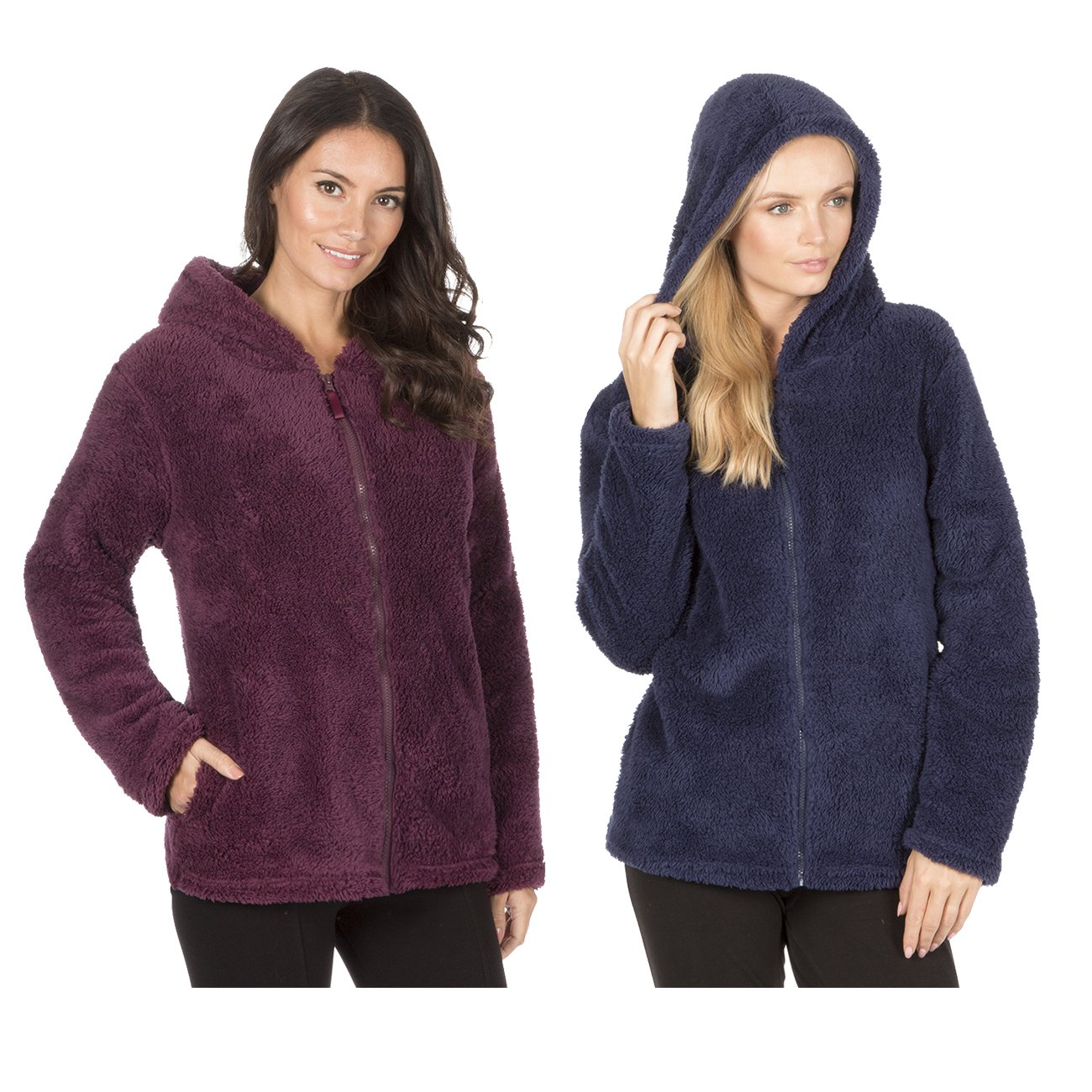 Forever Dreaming Womens Snuggle Fleece Bed Jacket - Zip Up Front Hooded Pyjama Top