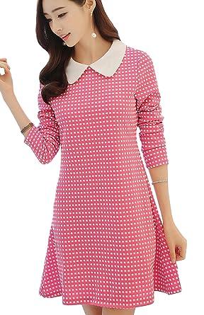 ceca7e3b2e321 (フムフム) fumu fumu ワンピース ピンク ギンガムチェック レディース きれいめ ファッション 清楚 ワンピ 長袖