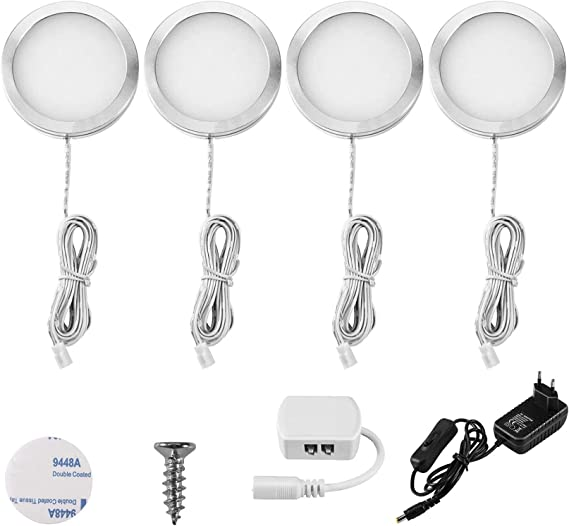 Lightess Luz del Gabinete LED Luz de Bajo Armario Iluminación para Vitrina para Cocina Estante Muebles Taquillas Enfriador de Vino (4 luces, Blanco ...